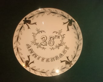25th Anniversary Lefton Silver Handpainted China Plate