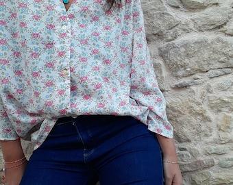 Vintage 80s Cotton White Floral Ditsy Print Blouse