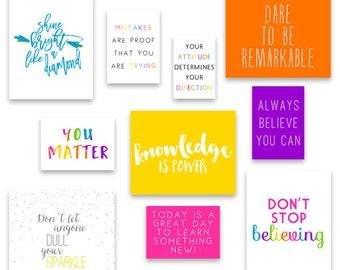 Inspirational Art Prints for Classroom, Classroom Decor, Playroom Art Quotes, Motivational Quotes, Art for Teachers, Instant Download