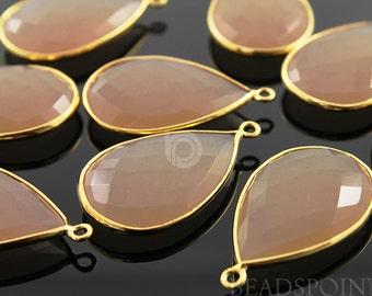 Sand Chalcedony, Bezel Pear Shape Gemstone Component, Gold Vermeil,   30x20mm 1 Piece, (BZC7084)