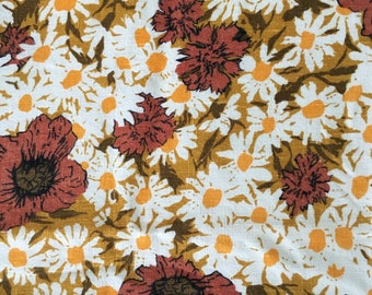 Vintage linen, floral tablecloth, early 1970's,