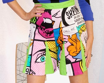 Pop Art Flared Shorts, Comic Graphic Designer Fashion Shorts, High Waist, White, Black, Pink, Green, Yellow, Orange, Made in Australia.