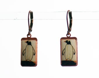 Penguin Earrings, Photo Earrings, Black and White Earrings, Dangle Earrings, Resin Earrings
