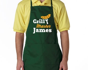 Grilling apron for men, grill master apron, personalized mens  bbq apron, mens gift, Two Pocket Adjustable Apron