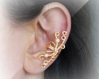 Gold Ear Cuff 24K Gold Plated Glitter Gold Ear Wrap