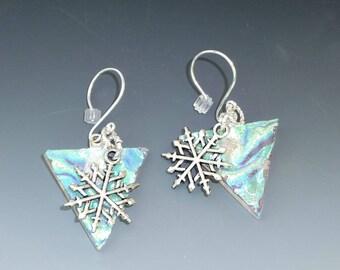 Glass Holiday Earrings, Snowflake Earrings, Dichroic Fused Glass Drop Earrings - Ice Princess