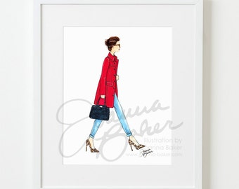 The World is My Runway Fashion Illustration Art Print / Fashion Illustration Sketch, Fashion Sketch Art, Fashion Art Print, Fashion Wall Art