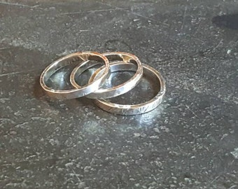 Stacking rings, 2mm, sterling silver, minimalist, textured, hammered, stackers, stackable, knuckle rings, 2 mm, midi ring