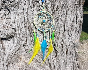 Dream catcher shades yellow and blue / real 25 cm