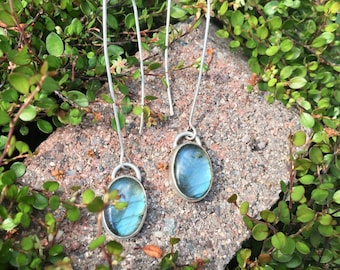 Long Dramatic Dangle Labradorite Lightning Blue Earrings W Long Earwire Sterling Silver