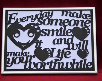 Laser Cut Message Mounted in a Picture Frame With a Smiley Face