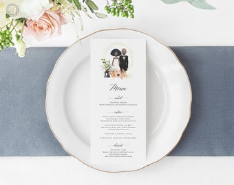 Wedding Menu, Menu Template, Menu, Printable Menu, Menu Card, Menu Printable, Illustrated Wedding Menu, Menu Card, Wedding printables, #IPP