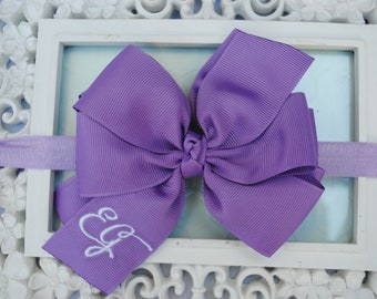 Lavender Baby Headband Purple Baby Headband Double Stacked Bow Large Hair Bow Infant Headbands Grape Hair Bows for Girls Monogram Baby Bows