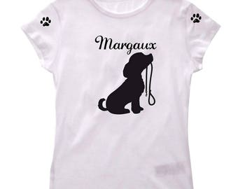 Tee shirt girl dog and leash personalized with name