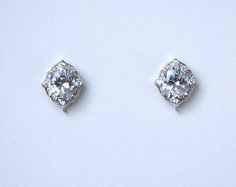 Bridal Earrings Art Deco Diamond Shape Stud Earrings Best Bridal Earrings