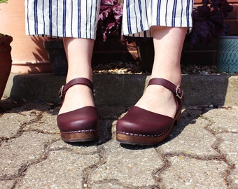 Swedish Clogs Low Wood Aubergine Leather Brown Base by Lotta from Stockholm / Wooden Clogs / Sandals / Low Heel / Mary Jane Shoes