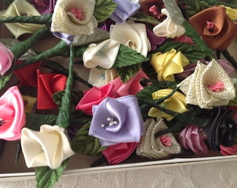 Hand Made Ribbon Roses Stemmed  ~ Velvet Leaves ~ Millinery Crafts ~ Small Vintage Roses ~  Craft  Projects ~ Floral Supplies
