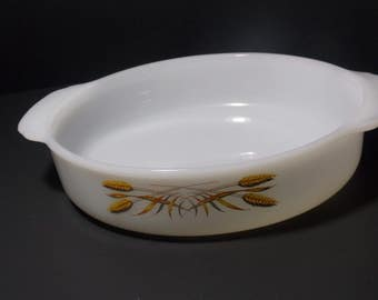 Shallow baking dish 8 inch cake pan casserole dish glass baking dish  Golden Wheat Pattern  Fire King by Anchor Hocking