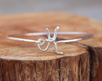Initial Bracelet. Bangle. Sterling Silver. Wire Jewelry.