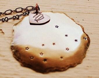 Zodiac Constellation Necklace - Hand Stamped Jewelry - Virgo Aries Taurus Gemini Libra Cancer Scorpio Sagittarius Capricorn Aquarius