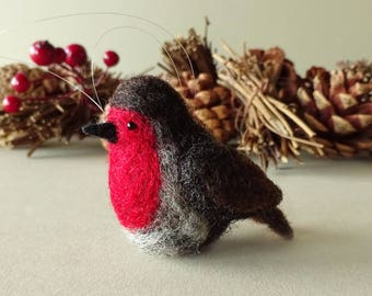 Robin red breast Christmas tree ornament, needle felted red robin holiday decoration, bird soft sculpture, bird lover gifts