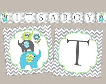 Boy Baby Shower Banner Boy Baby Shower Decorations Elephant Baby Shower (87f) Instant Download