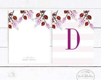 MODERN Personalized Stationery Pink Berry Personalized Notecards Stationery for Her Monogram Greeting Cards Thank You cards Blank Notecards