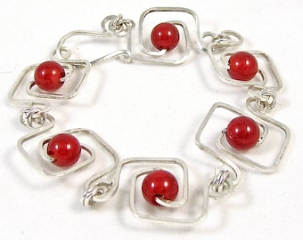 Carnelian Geometric Squares Bracelet