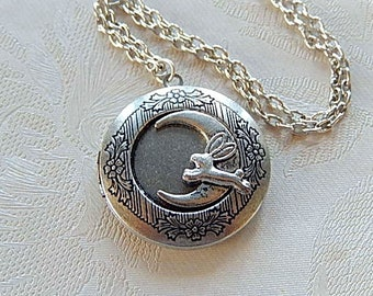 I Love You to the Moon and Back, Bunny Locket, Locket Necklace, Gift for Her