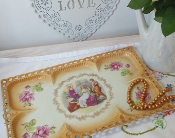 Vintage trinket dish or jewelry dish dressing table tray with portrait images and roses made from bone china