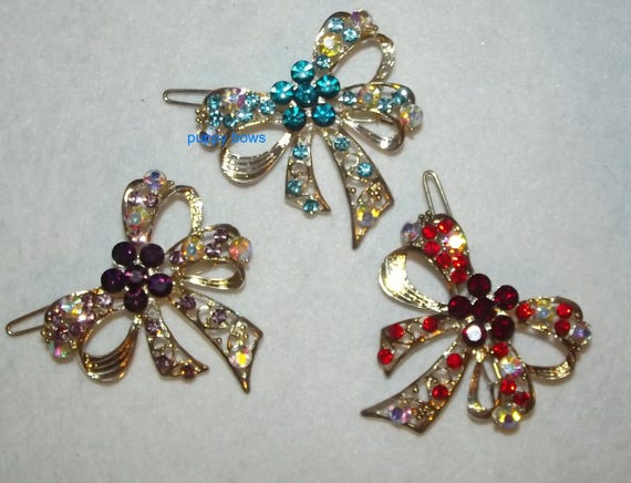 Puppy Bows ~ Rhinestone crystal red purple or blue double loop bowknot barrette ~ US Seller
