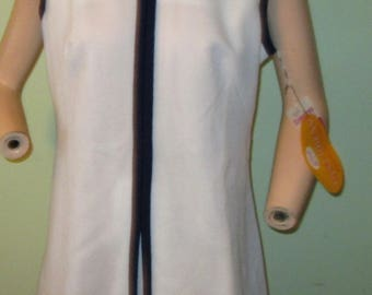 Vtg. 70s Leo Danal Crimplene Luster Crepe Double Knit Pant Dress size 18 NOS Summer Front Pleat SALE