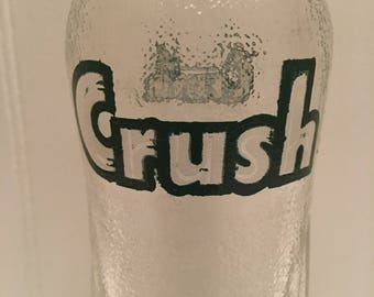 1960's CRUSH Soda Bottle with Uncrimped  Cork Lined GRAPE CRUSH Bottle Cap - Crush International Evanston Illinois