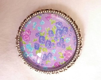 Lavender Floral Glass Dome Brooch in a Decorative Silver tone Bezel