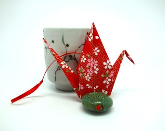"""Lucky origami paper crane Japanese washi """"love Red"""""""