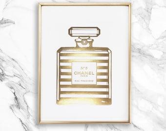 CHANEL No.5 Stripe Bottle - 1 x A4 - Real gold foil print