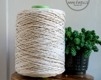 Raw Cotton Rope - Super Soft Luxe String Cotton Cord - 3mm - 1000 Meters - Macrame Rope - Diy Macrame - Weaving - Macrame