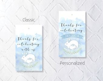 Printable Blue Bunny Baby Shower Favor Tags - Classic and Personalized Options