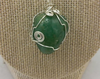 Green adventurine wire wrapped pendant