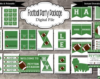 Football Birthday Party Package - Digital, Editable, Printable File - Instant Download