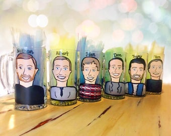 Charicature Beer Mugs - Groomsman Gifts - Be my Groomsman - Be My Bestman - Bachelor Party Beer Steins.
