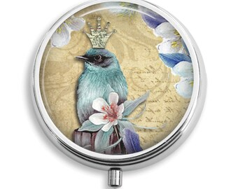 Pill Box Pill Case Royal Teal Bird With Crown and Orchid Holder Pill Container Trinket Box Vitamin Holder Medicine Box