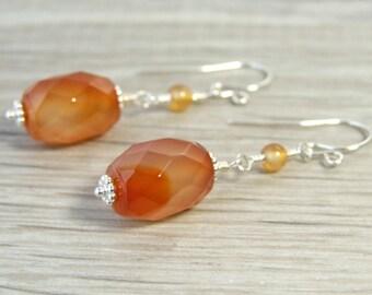 Sterling Silver Gemstone Earrings Red Agate Earrings Boho Dangle Earrings Stone Jewelry Artisan Earrings Handmade Gifts Iris Elm Jewelry