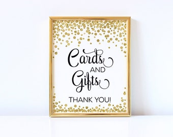 Cards and Gifts Sign Printable Gift Table Sign Cards & Gifts Sign Gold Confetti Party Sign Wedding Baby Shower Birthday Party Decorations