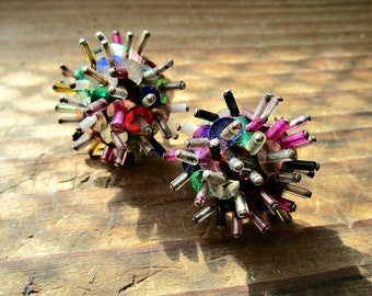 Vintage Sequin Earrings - Spiky - 1950s - Atomic Age - Multi Color - Screw Back