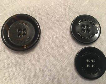 Burberry and Burberry London, 3 pcs Buttons, 1 pcs brown london, 2 pcs black plastic, Authentic