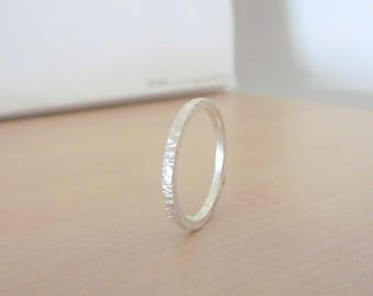 Textured Band Rings .925 Sterling Silver Grass Texture Handmade