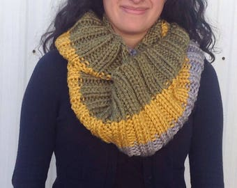 Handknit infinity scarf grey, olive , gold