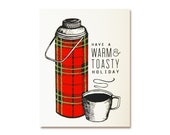 Christmas Card - Tartan Thermos