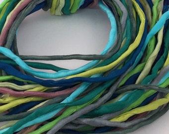 Hand Painted Silk Cord - Hand Dyed Silk - Silk Ribbon - Jewelry Supplies - Wrap Bracelet - Craft Supplies - 2mm Silk Cord Item No.399
